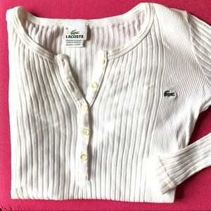 Lacoste White Ribbed Long Sleeve Henley